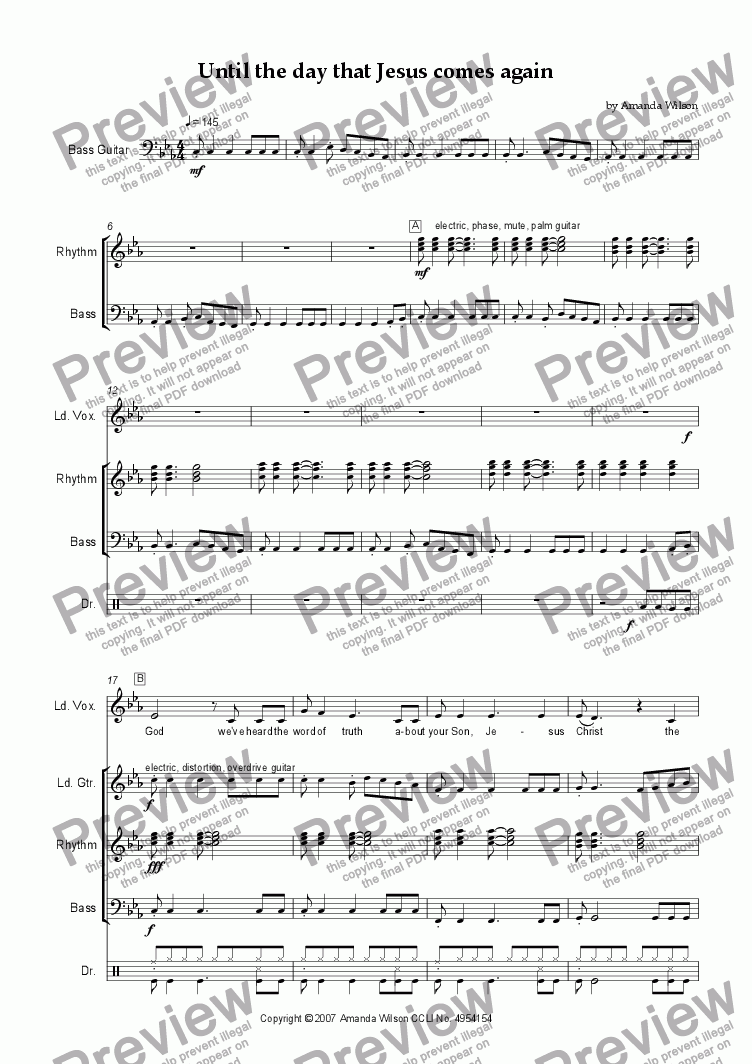page one of Until the day that Jesus comes again (guitar/band)