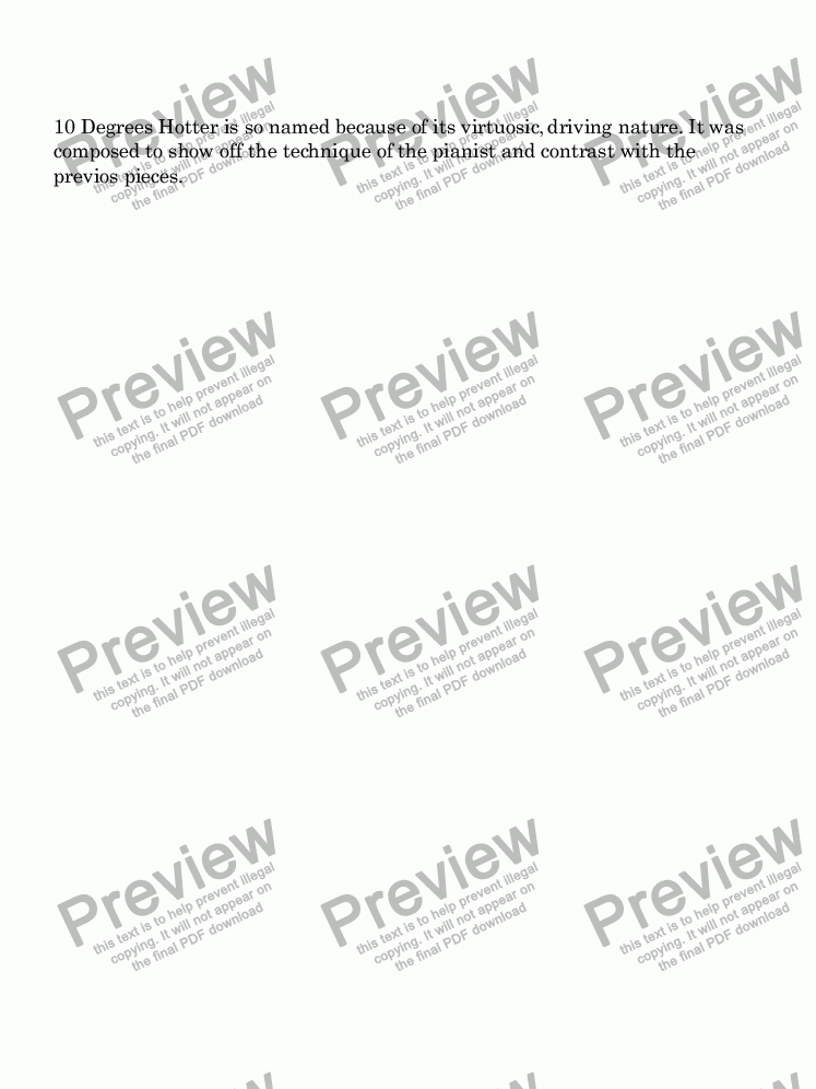 page one of Suite for Piano #5 Ten Degrees HotterASALTTEXT