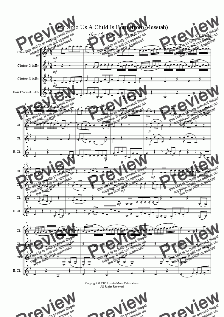 page one of Handel - Messiah - Unto Us a Child is Born (Clarinet Quartet)
