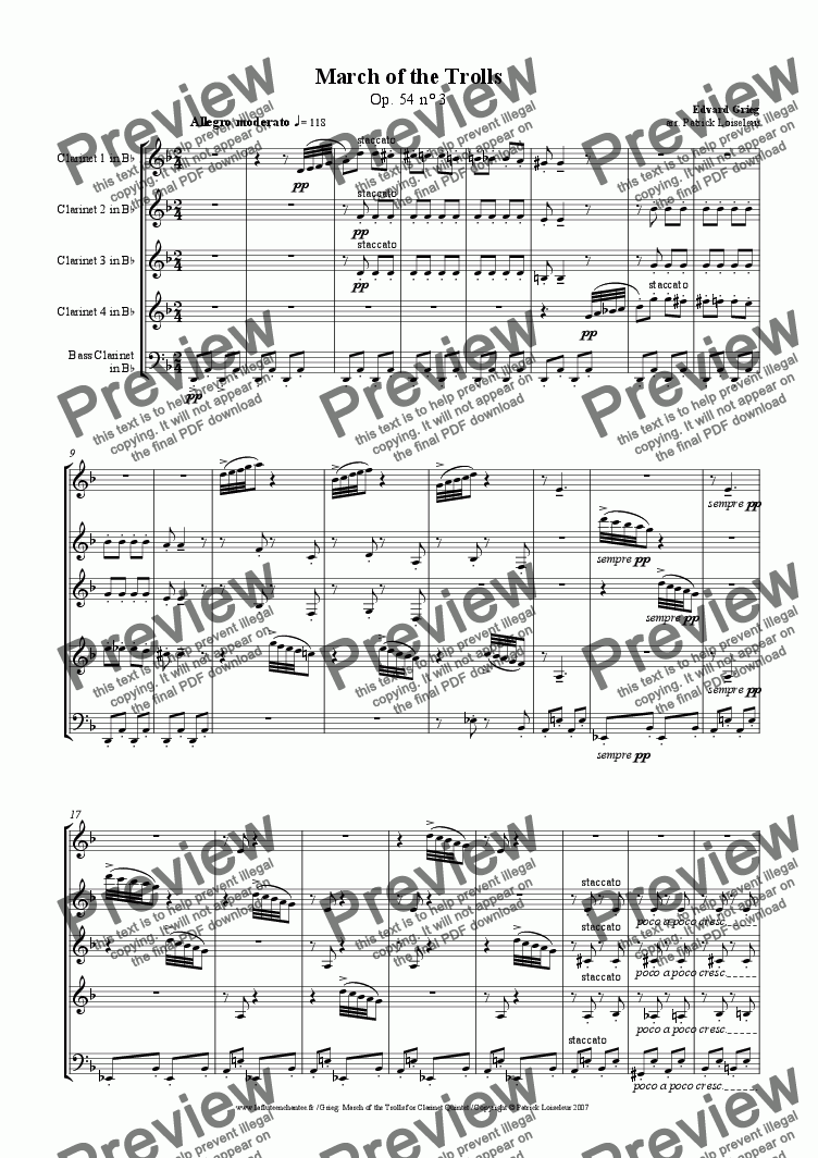 page one of Grieg: March of the Trolls (arranged for clarinet quintet)
