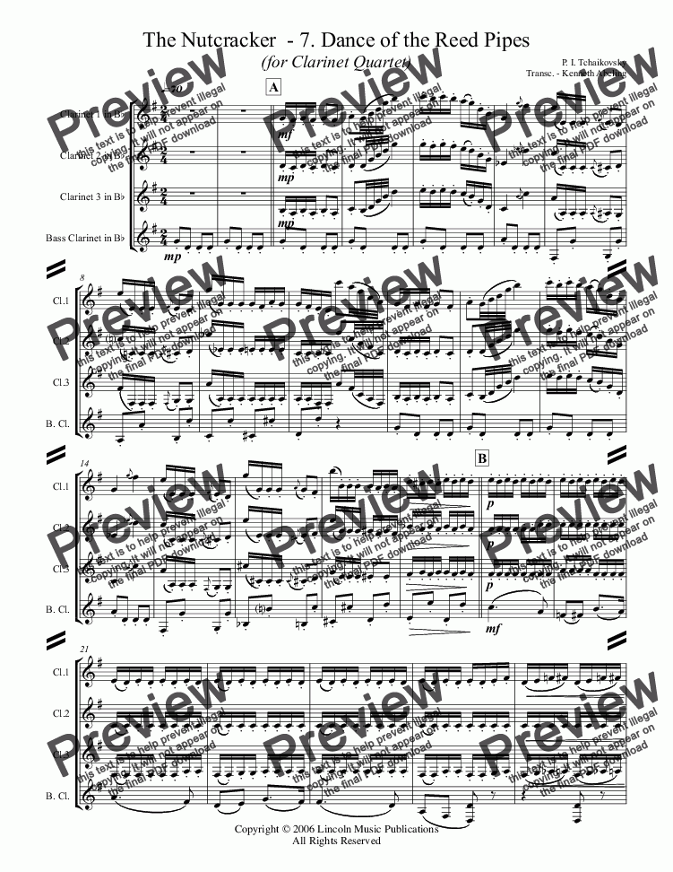 page one of The Nutcracker  - 7. Dance of the Reed Pipes (for Clarinet Quartet)
