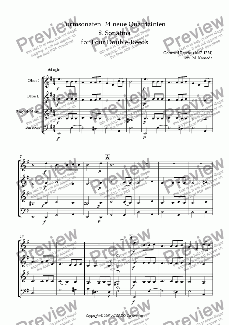 page one of Turmsonaten. 24 neue Quatrizinien 8. Sonatina for Four Double-Reeds