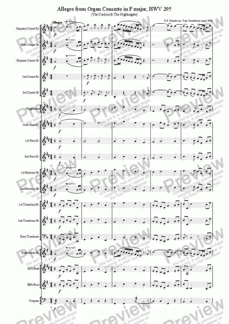 page one of BRASS BAND - Finale from Organ Concerto No.13 (The Cuckoo & The Nightingale)