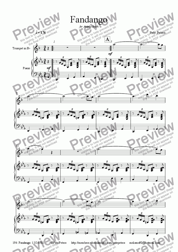 page one of Fandango (Trumpet version)