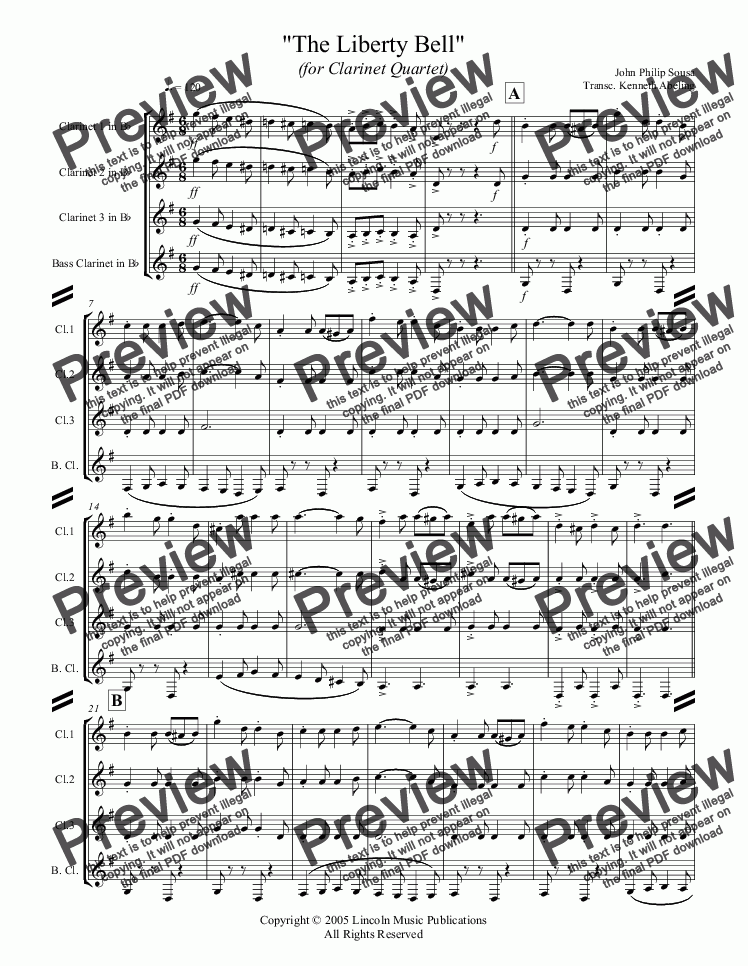 page one of March - The Liberty Bell (Clarinet Quartet)