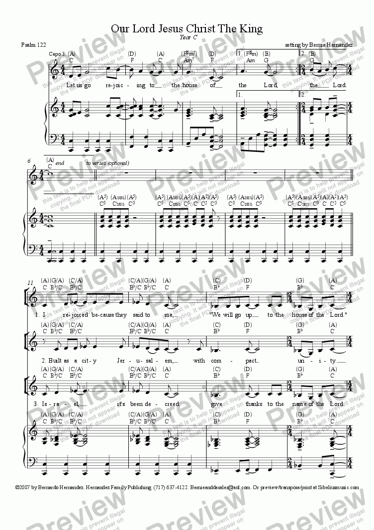 page one of Responsorial Psalm - Our Lord Jesus Christ The King, Yr. C
