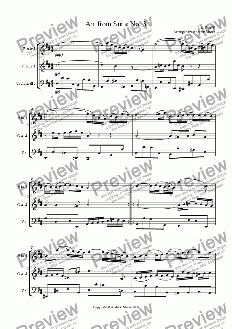 page one of Air from Suite No. 3 for String Trio