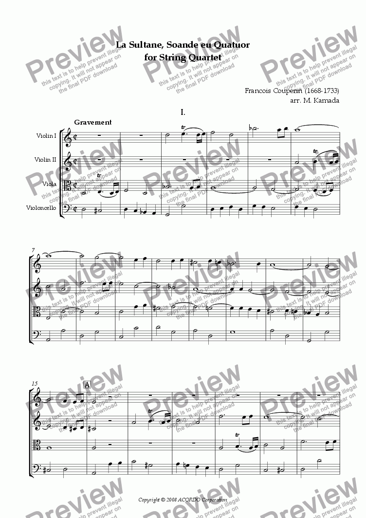 page one of 'La Sultane, Soande eu Quatuor' for String QuartetASALTTEXT