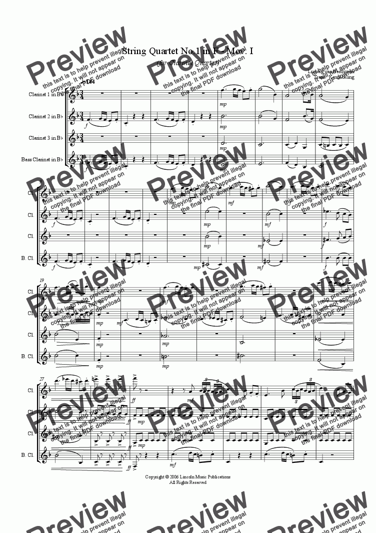 page one of Beethoven - Quartet in No. 1 in F Maj. Mov. I (Clarinet Quartet)