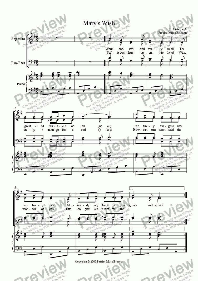 page one of Mary's Wish (SATB)