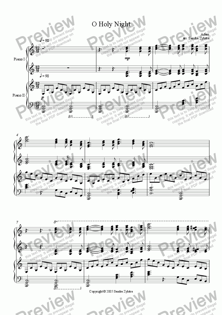 page one of O Holy Night (Piano Duet)ASALTTEXT