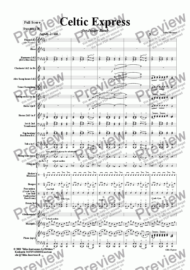 page one of Celtic Express (wind band)