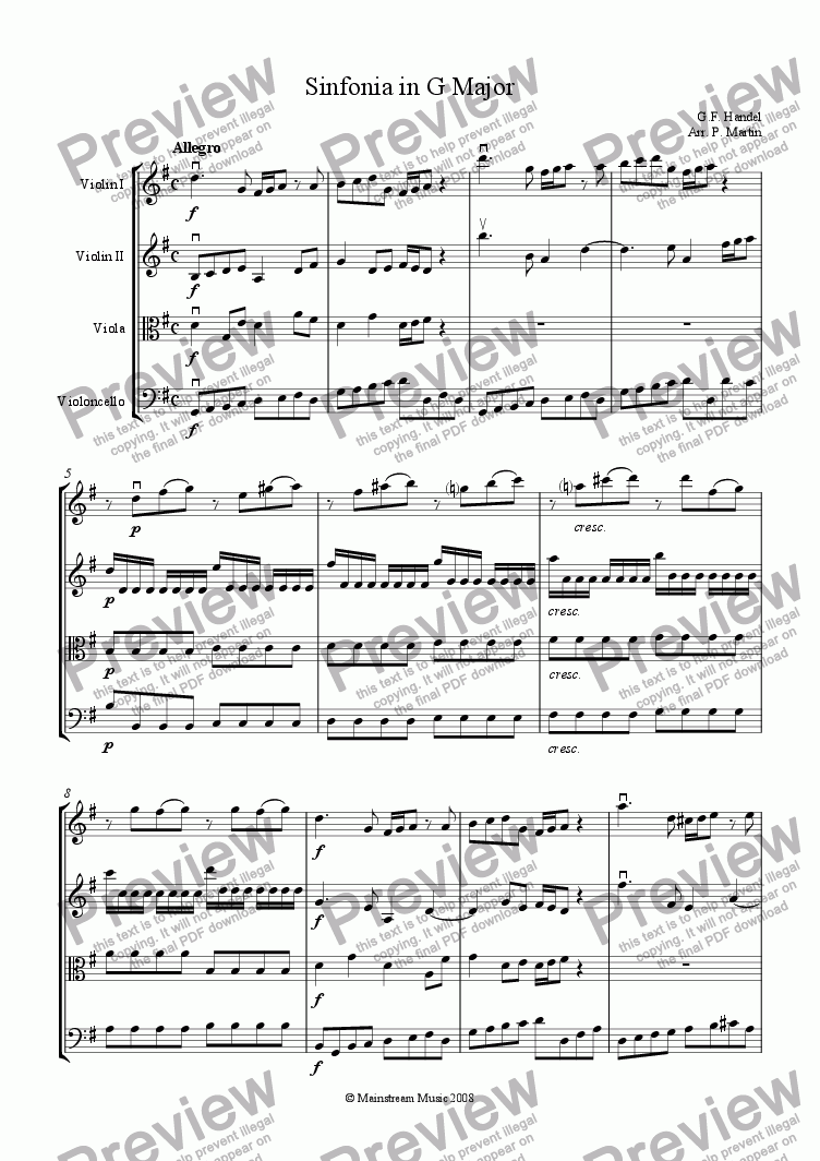 page one of Sinfonia in G Major