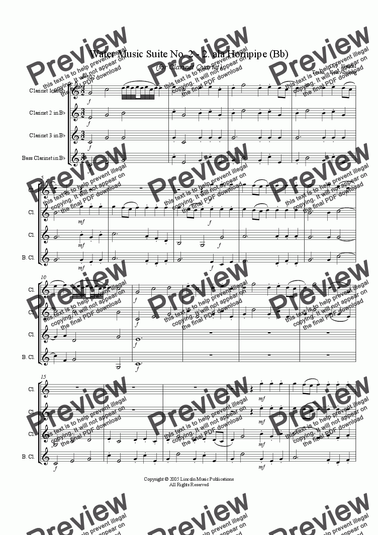page one of Handel - Water Music Suite No. 2, II. Hornpipe (Clarinet Quartet)