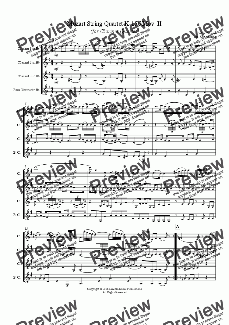 page one of Mozart String Quartet KV 156 Mov, II (Clarinet Quartet)