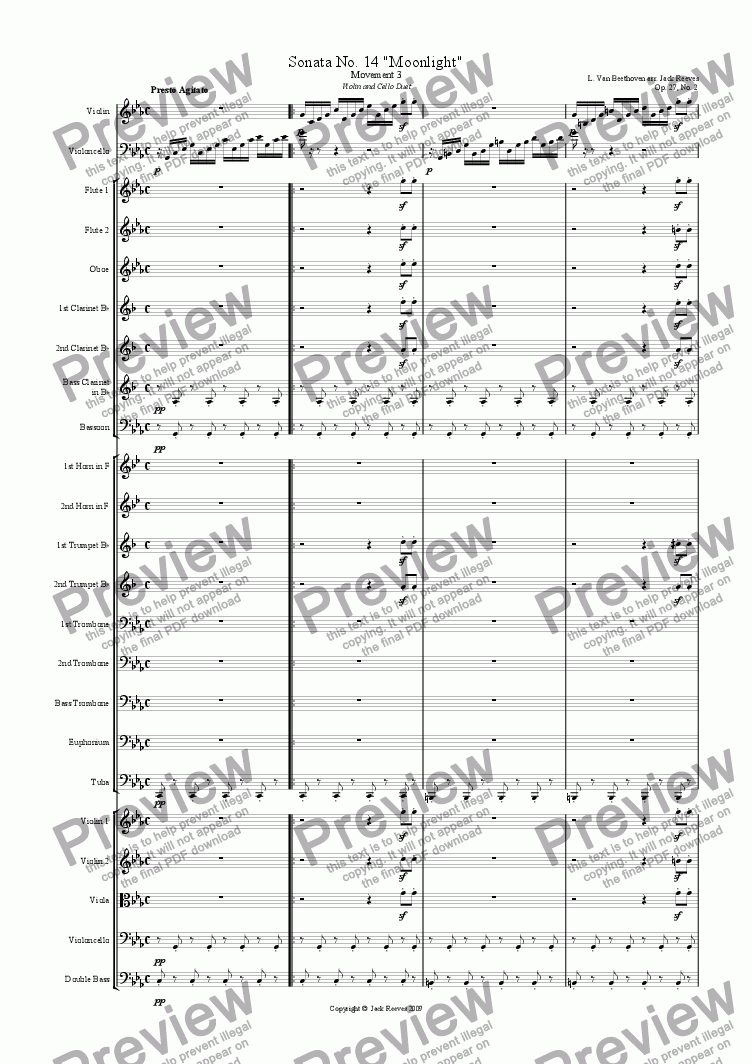 page one of Moonlight Sonata - 3rd Movement (C Minor) - Orchestra with Violin and Cello Duet