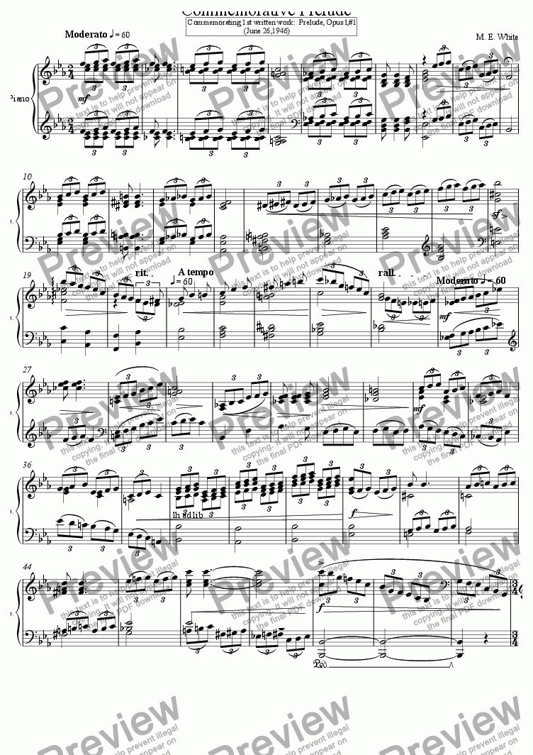 page one of Commemorative Prelude