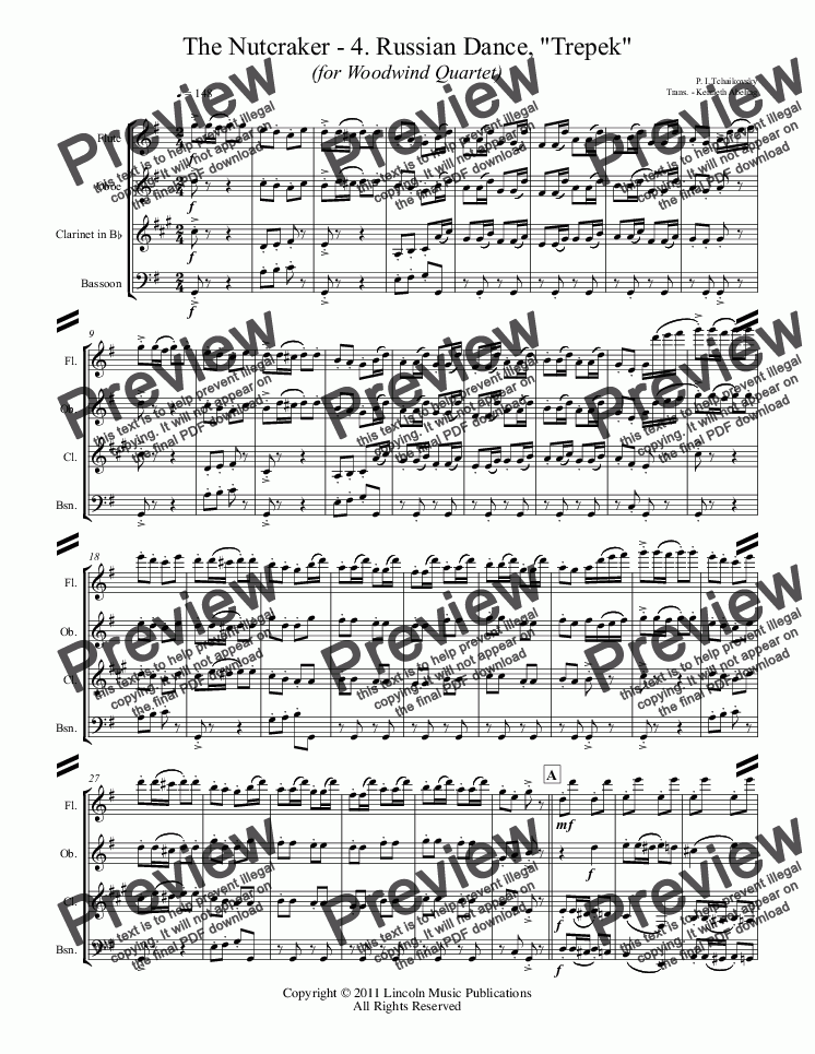 "page one of The Nutcracker - 4. Russian Dance, ""Trepek"" (for Woodwind Quartet)"