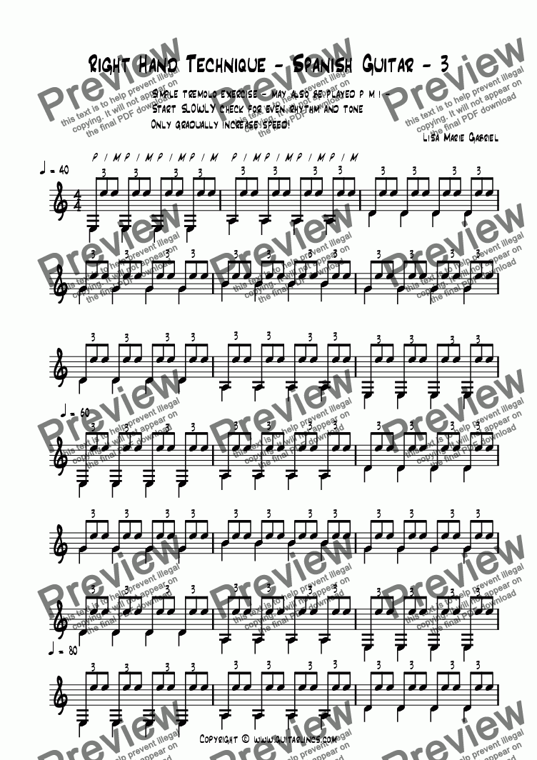 page one of Right Hand Technique - Spanish Guitar - 3