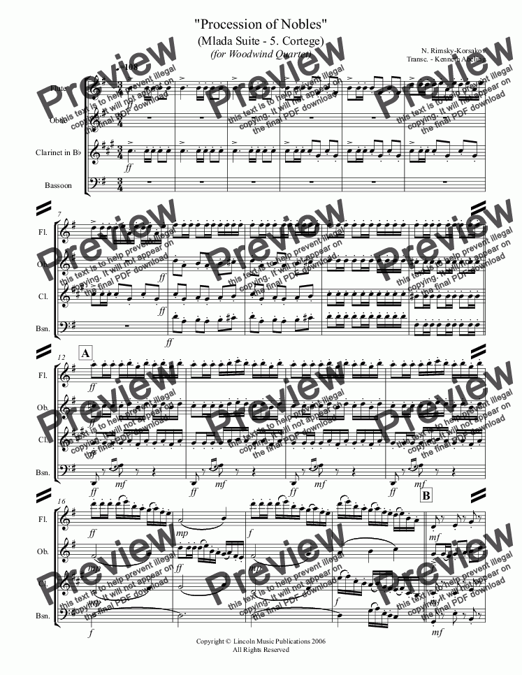 "page one of Rimsky-Korsakov – ""Procession of Nobles"" from Mlada (for Woodwind Quartet)"