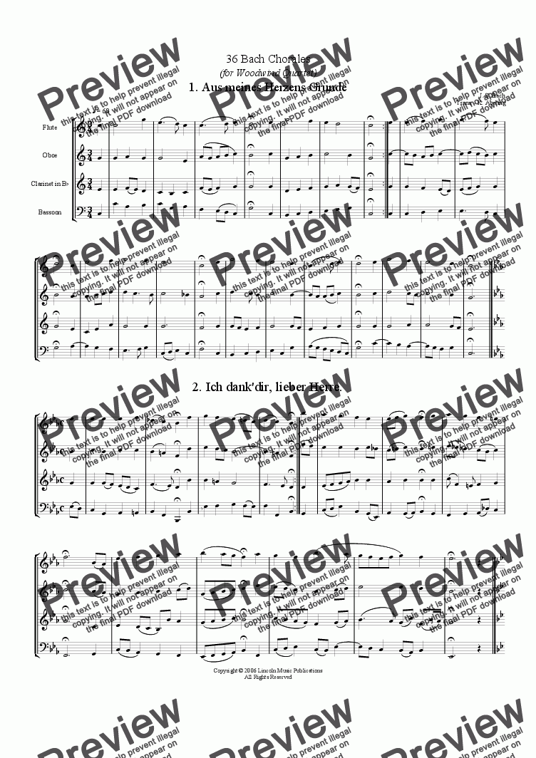 page one of Bach - Four-Part Chorales (36 in set) (Woodwind Quartet)