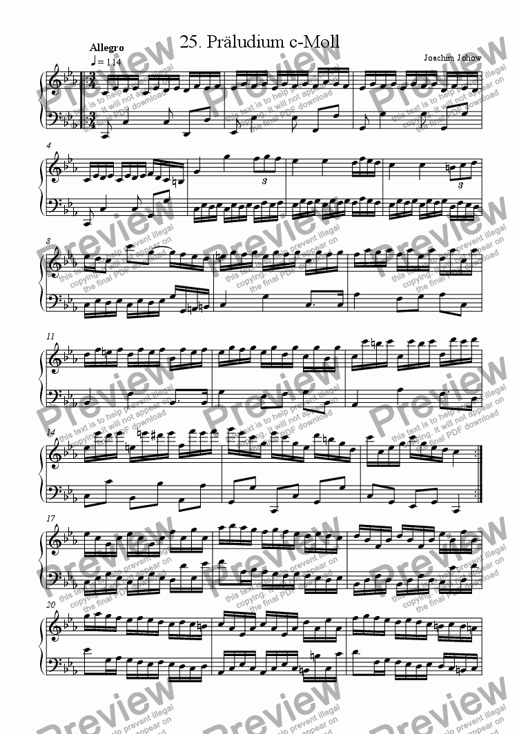 page one of Piano Book 025 (Präludium c-Moll)ASALTTEXT