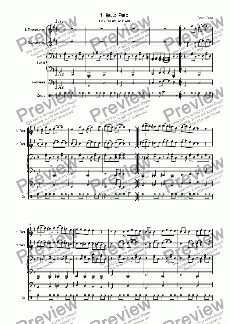page one of Ten Sax 01 (Hello Fred)ASALTTEXT