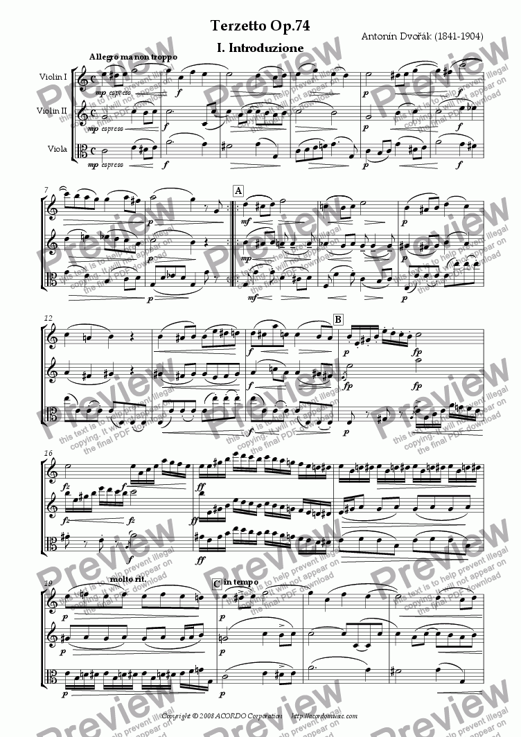 page one of Terzetto Op.74 for two Violins & Viola