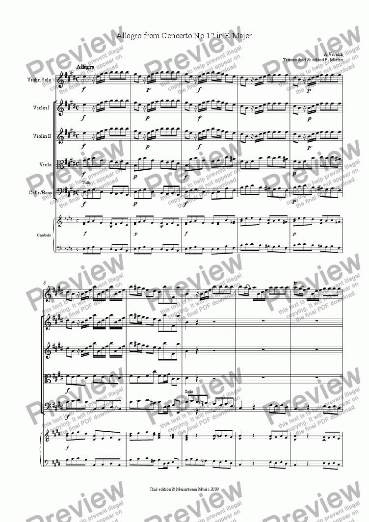 page one of Allegro from Concerto in E Major RV265