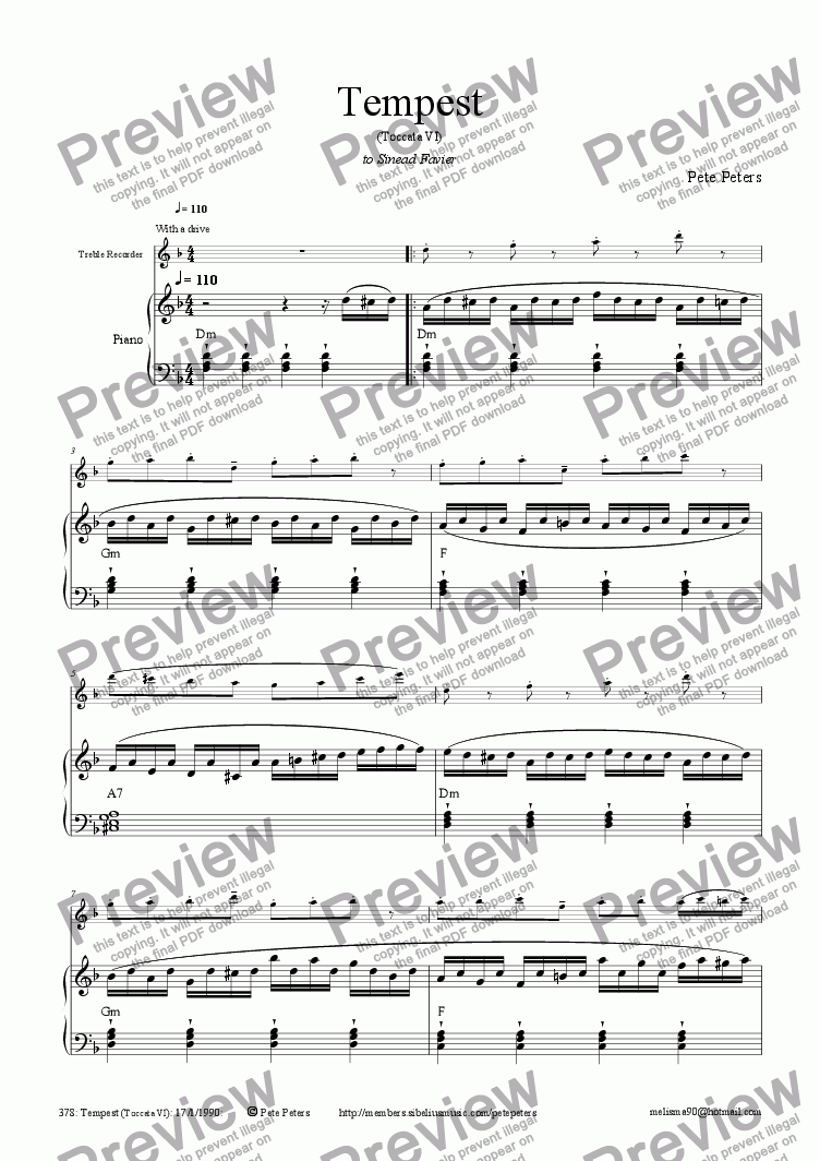 page one of Tempest [Flute or Rec]