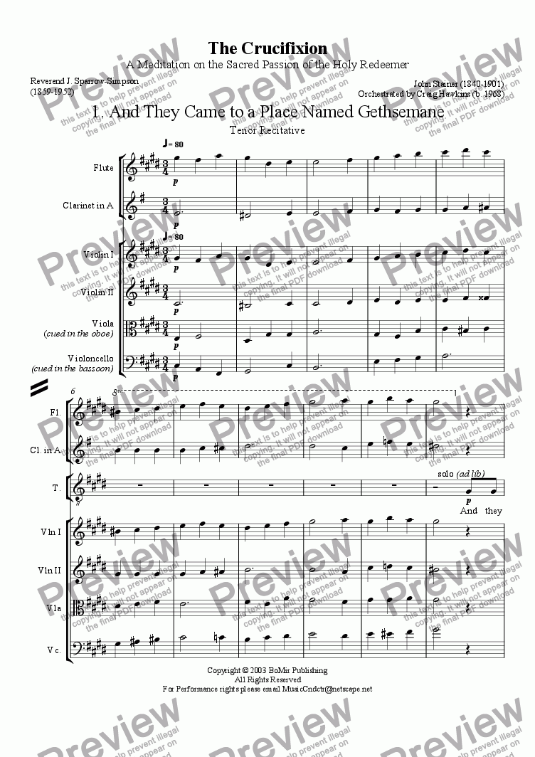 Crucifixion #1 (And They Came to a Place Named Gethsemane) for Large mixed  ensemble by John Stainer - Sheet Music PDF file to download
