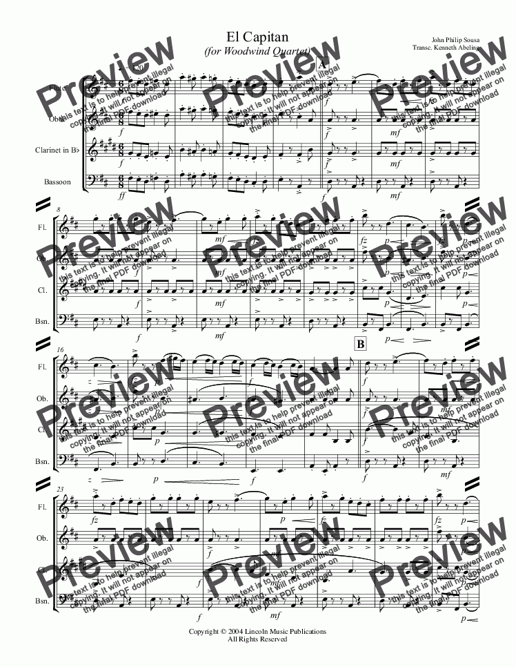 page one of March - El Capitan (Woodwind Quartet)