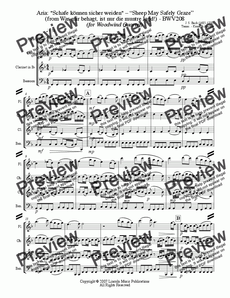 page one of Bach - Sheep May Safely Graze (Woodwind Quartet)