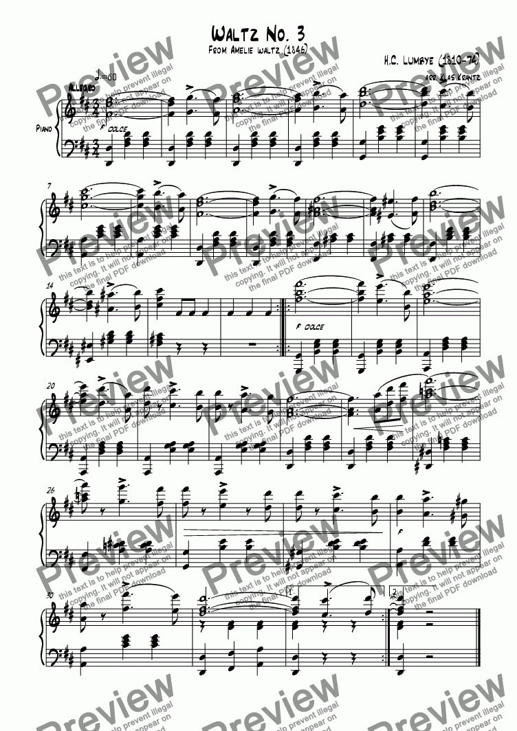 page one of Waltz No. 3 for piano