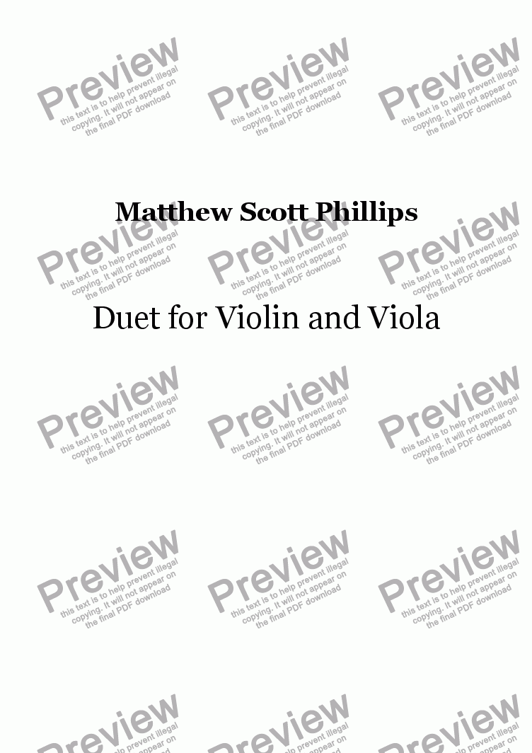 page one of Duet for Violin and Viola