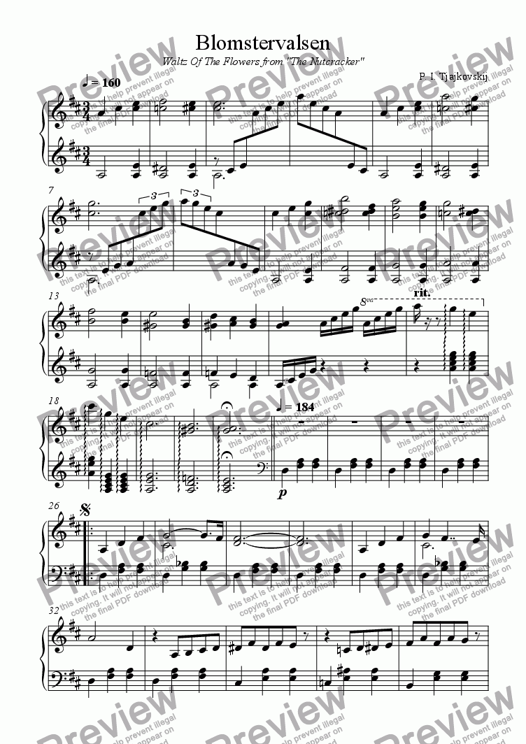page one of Waltz of the flowers