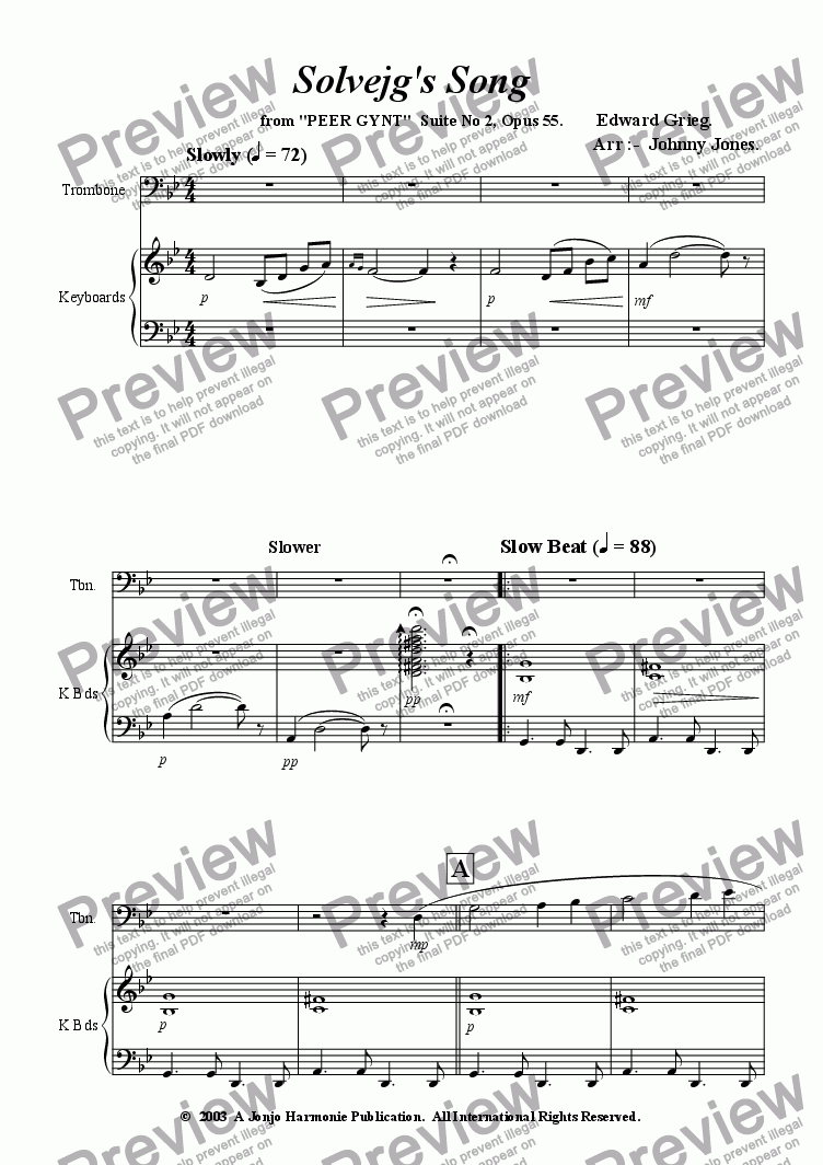 page one of Solveg's Song  (Slow Beat and Jazz Waltz, Trombone and Piano)ASALTTEXT