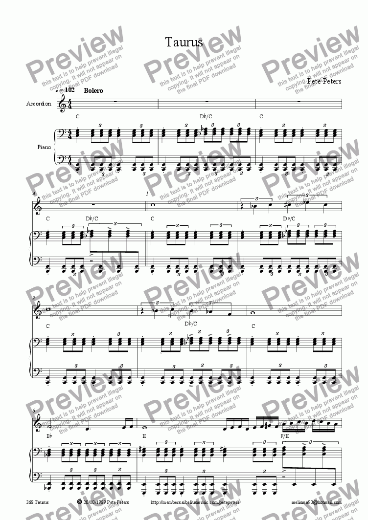 page one of Taurus [Accordion version]