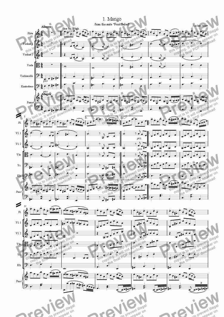 page one of Fruit Salad 1 Mango (Suite for Flute,Strings and Piano)ASALTTEXT