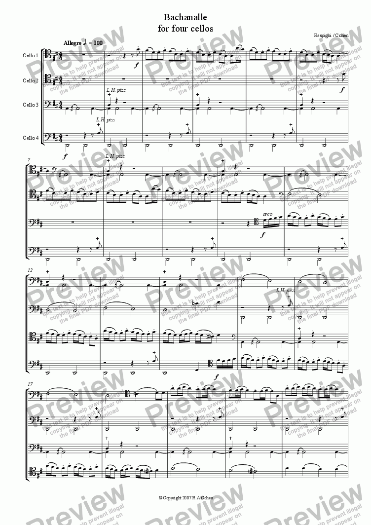 page one of Respighi/Cohen - BACHANALLE - for cello quartet