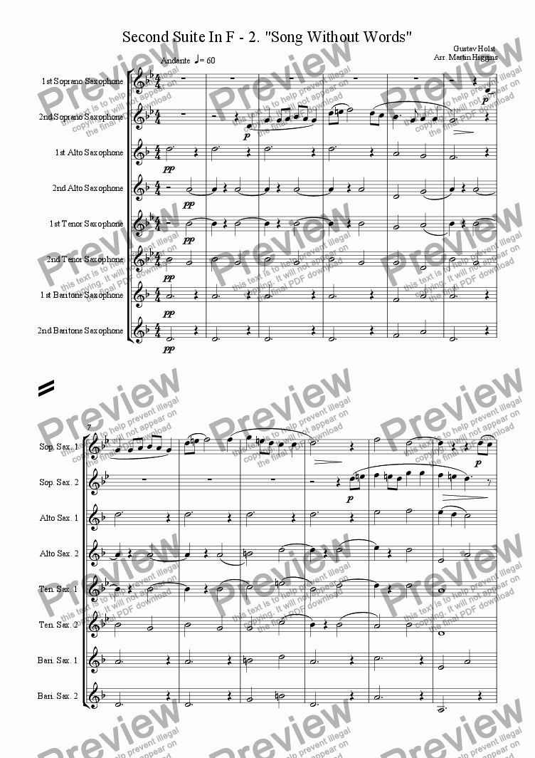 "page one of Second Suite In F - 2. ""Song Without Words"" (Saxophone Octet)"