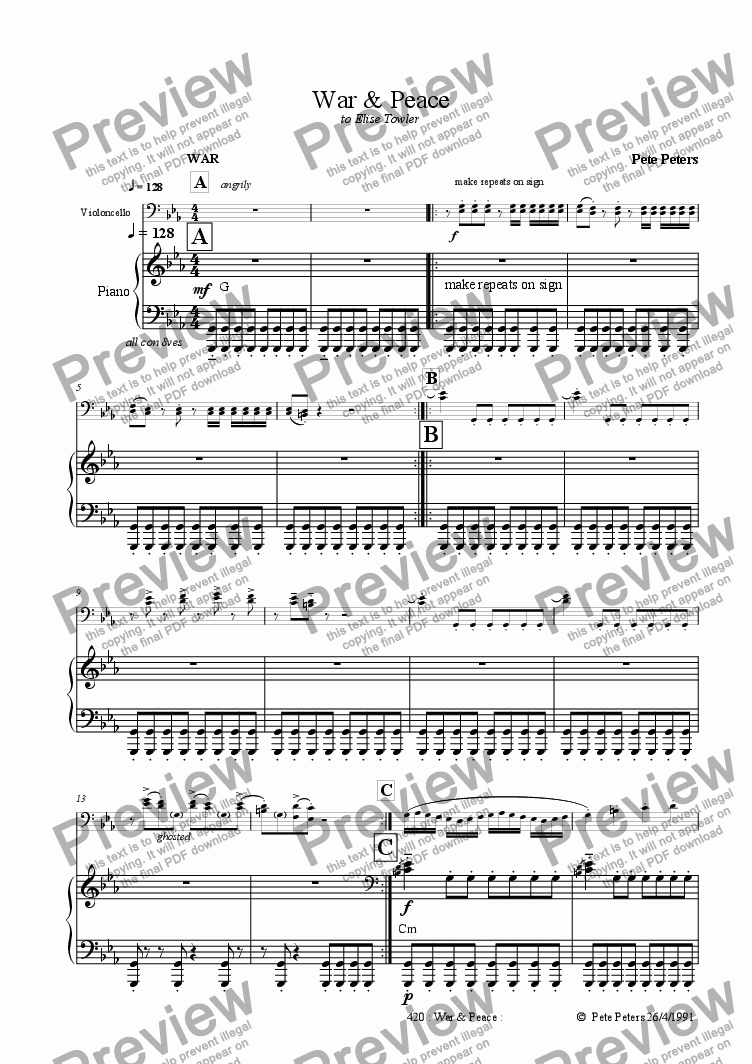 page one of War & Peace ['cello + pno]ASALTTEXT