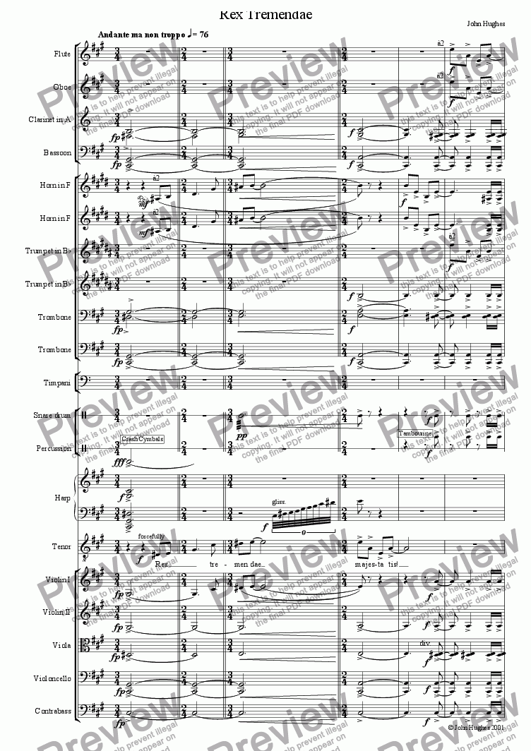 page one of An English Requiem - Rex Tremendae
