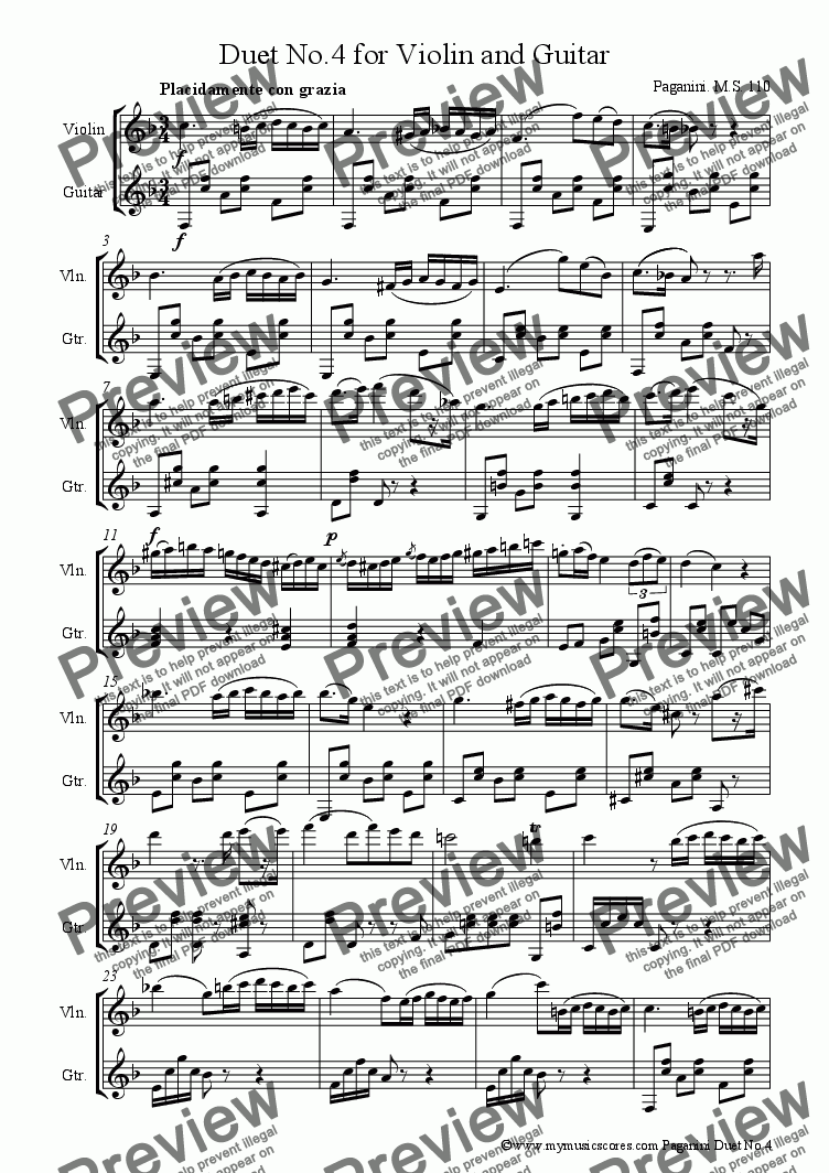 page one of Paganini Duet for Violin and Guitar MS110 No.4