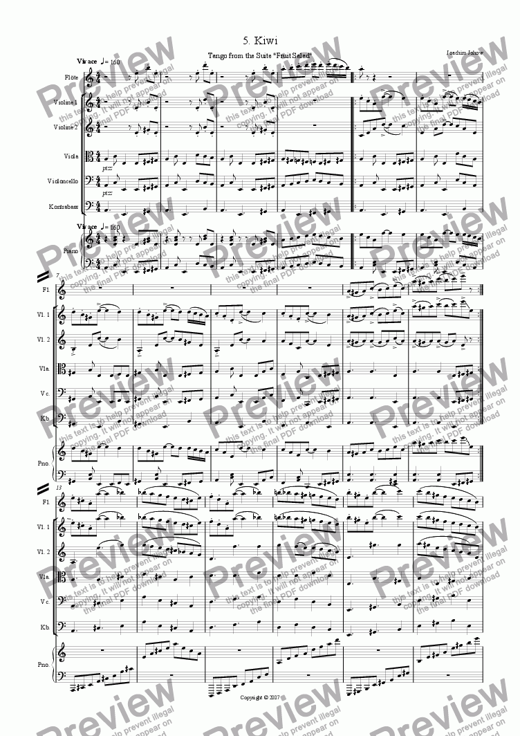 page one of Fruit Salad 5 Kiwi (Suite for Flute, Strings and Piano)ASALTTEXT