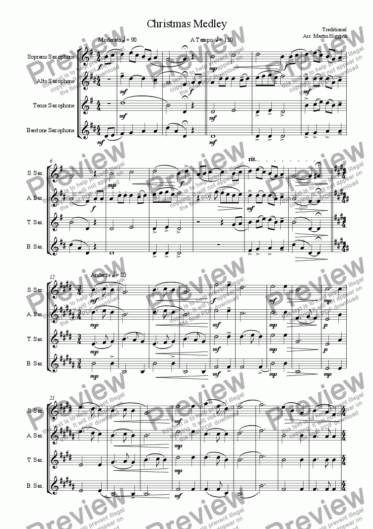 page one of Christmas Medley (Saxophone Quartet) (2007)