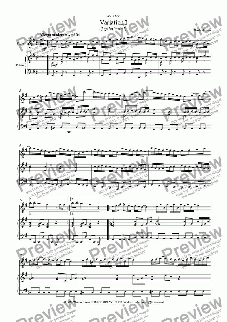 page one of Flute Variations I