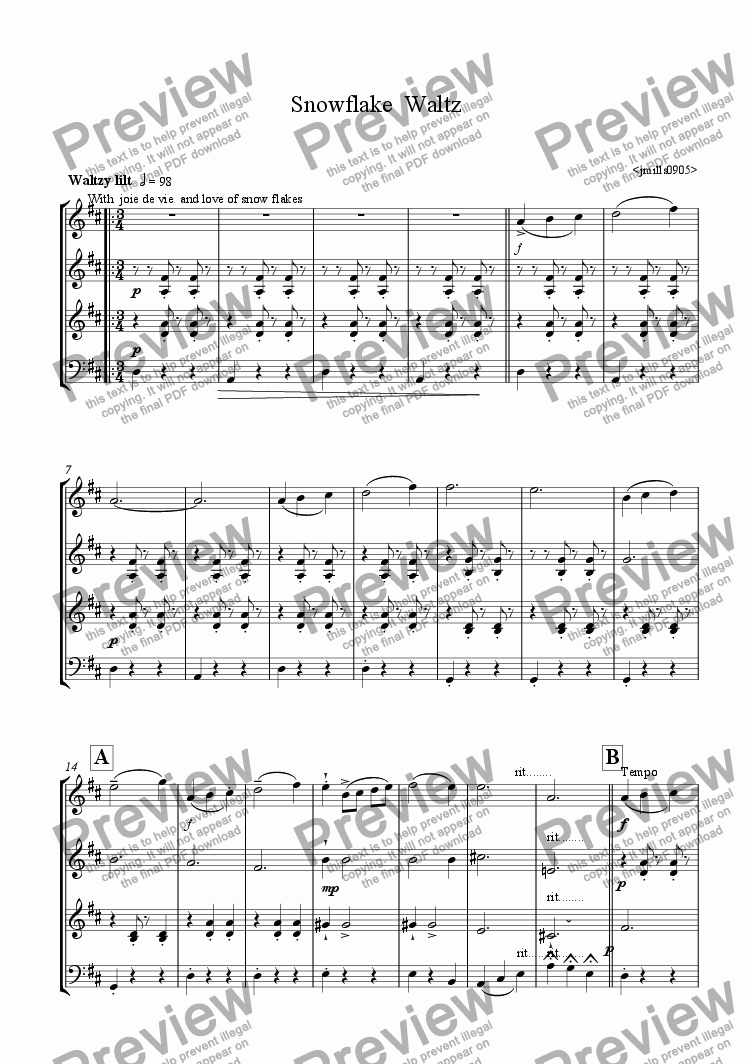 page one of Snowflake Waltz