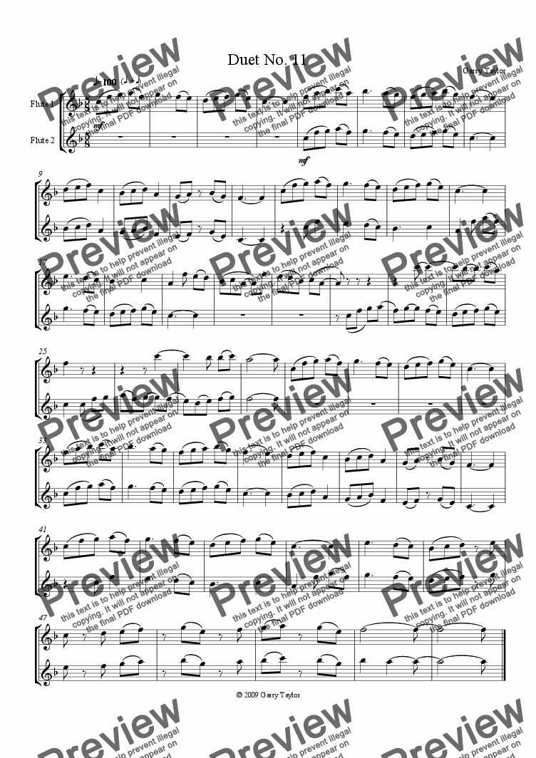 page one of Duet No. 11 for Flutes