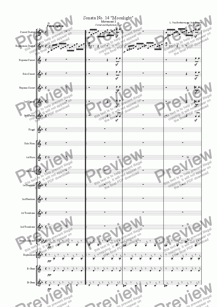 page one of Moonlight Sonata - 3rd Movement (C Minor) - Brass Band with Cornet and Euphonium Duet